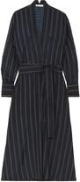 Vince Belted Striped Crepe De Chine Midi Dress