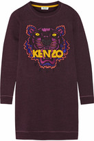 Kenzo Tiger Embroidered Cotton Sweatshirt Mini Dress - Plum