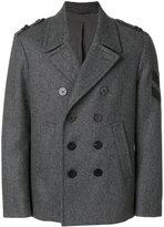 Neil Barrett chevron patch peacoat - men - Polyamide/Spandex/Elastane/Cupro/Virgin Wool - 48