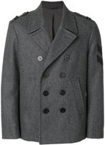 Neil Barrett chevron patch peacoat