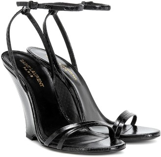Saint Laurent Kym snakeskin sandals