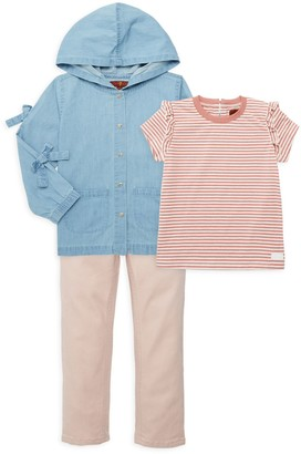 7 For All Mankind Baby Girl's & Little Girl's Three-Piece Denim Jacket, Tee & Pants Set