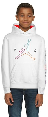 Jordan Air Future Pullover Hoodie Sweatshirt - White / Aurora Green Bright Crimson Black
