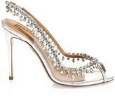 Aquazzura Temptation Crystal-Embellished Metallic Leather & PVC Peep-Toe Slingbacks