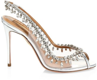 Aquazzura Temptation Crystal-Embellished Metallic Leather & PVC Peep-Toe Slingbacks