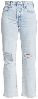 Alice + Olivia Amazing High-Rise Distressed Boyfriend Jean
