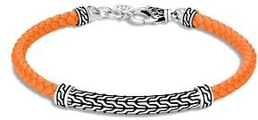 John Hardy Sterling Silver & Orange Leather Classic Chain Lined Flex Bracelet