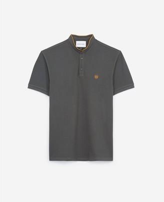 The Kooples Loose embroidered khaki polo shirt stand-up collar