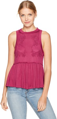 Taylor & Sage Women's Knit Babydoll Tank with Rose Applique
