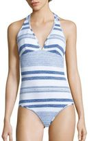 Shoshanna Striped Halter One-Piece Swimsuit