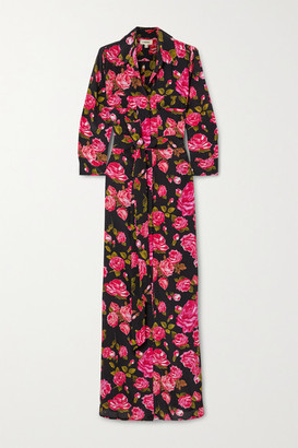 L'Agence Cameron Belted Floral-print Silk Crepe De Chine Maxi Shirt Dress - Black