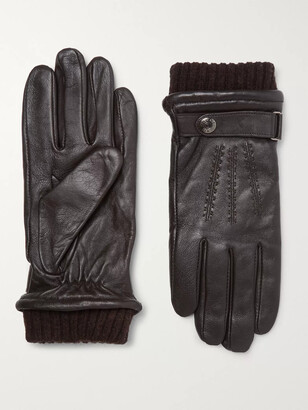 Dents Henley Leather and Wool-Blend Tech Gloves - Men - Brown