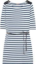 Striped cotton-blend dress