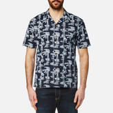 Carhartt Men's Short Sleeve Pine Hawaii Shirt Pine Print Blue/White