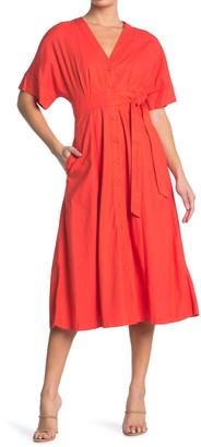 Taylor Stretch Linen Blend Shirt Dress