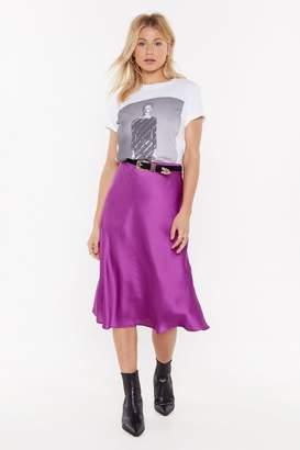 Nasty Gal Womens Just My Type Satin Midi Skirt - Green - S