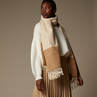 Love & Lore Ticking Stripe Scarf Ivory/Golden Brown