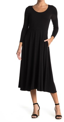 Magaschoni Scoop Neck 3/4 Sleeve Pocket Midi Dress