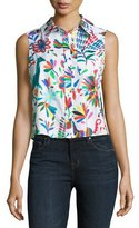 Milly Leah Sleeveless Folkloric-Print Poplin Top, Multi