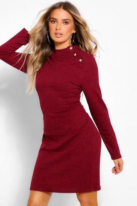 boohoo Button Shoulder High Neck Mini Bodycon Dress