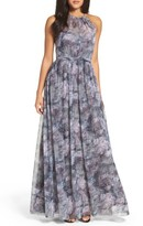 Amsale Women's Print Gathered Gown