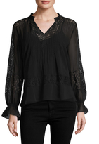 Love Sam Victorian Pintuck Scalloped Blouse