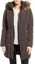 Calvin Klein Petite Women's Down & Feather Fill Coat With Faux Fur Trim Hood