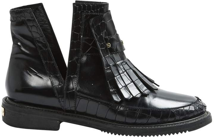 Aperlaï Black Leather Ankle boots