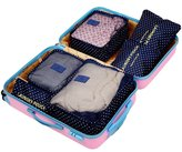 Wastar® 6pcs Packing Cubes Set Travel Luggage Organizer Bag - 3 Travel Cubes + 3 Pouches