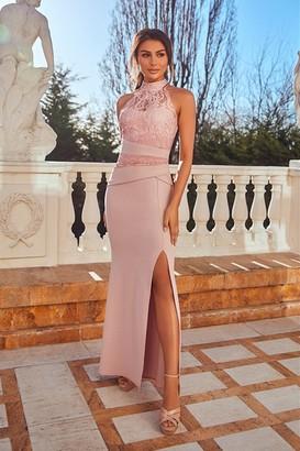 Sistaglam Kaytianne Pink Lace halterneck maxi Dress