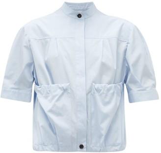 Salvatore Ferragamo Gathered-pocket Cotton-poplin Shirt - Womens - Light Blue