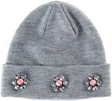 San Diego Hat Company Gray Flower-Embellished Slouchy Beanie