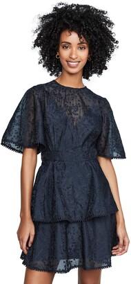 Keepsake Women's Wild Love Flutter Sleeve Burnout Lace Fit & Flare Mini Dress