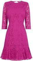 Warehouse Lace Peplum Sleeve Dress