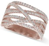 Giani Bernini Cubic Zirconia Crossover Ring in 18k Rose Gold-Plated Sterling Silver, Created for Macy's
