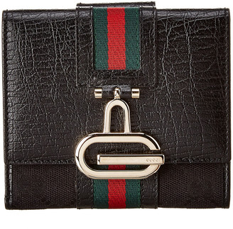 Gucci Black Gg Canvas & Leather Wallet