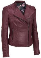 Black Rivet Womens Plus Size Leather Moto Jacket W/Quilting