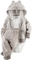 Carter's Baby Boys' 3 Piece Striped Hodded Terry Cardigan Set, Gray