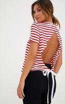 PrettyLittleThing Red Stripe Ribbon Tie Open Back T Shirt