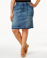Style&Co. Style & Co Plus Size Distressed Denim Skirt, Created for Macy's