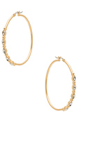 Rebecca Minkoff Large Hoops with Five Stone Detail in Metallic Gold.