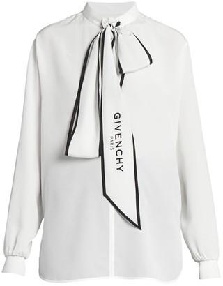 Givenchy Logo-Print Tieneck Silk Blouse