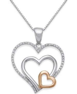 Macy's Diamond Nested Heart Pendant Necklace (1/10 ct. t.w.) in Sterling Silver and 14k Gold