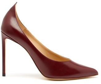 Francesco Russo Point-toe Leather Pumps - Womens - Burgundy