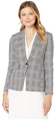 Vince Camuto Colorful Glen Plaid Notch Collar Blazer (Lime Chrome) Women's Jacket