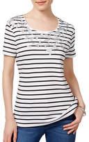 Karen Scott Petite Embellished Striped Top