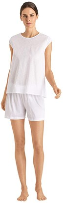 Hanro Kiah Short Sleeve Short Pajama Set (White) Women's Pajama Sets