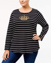Charter Club Plus Size Cotton Beaded Striped Top, Created for Macy's