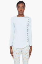 Balmain Denim Press-Stud Blouse