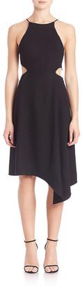 Halston Asymmetric Halter Dress